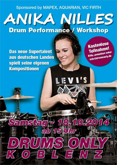 ANIKA NILLES am 18.10.2014 bei DRUMS ONLY in Koblenz